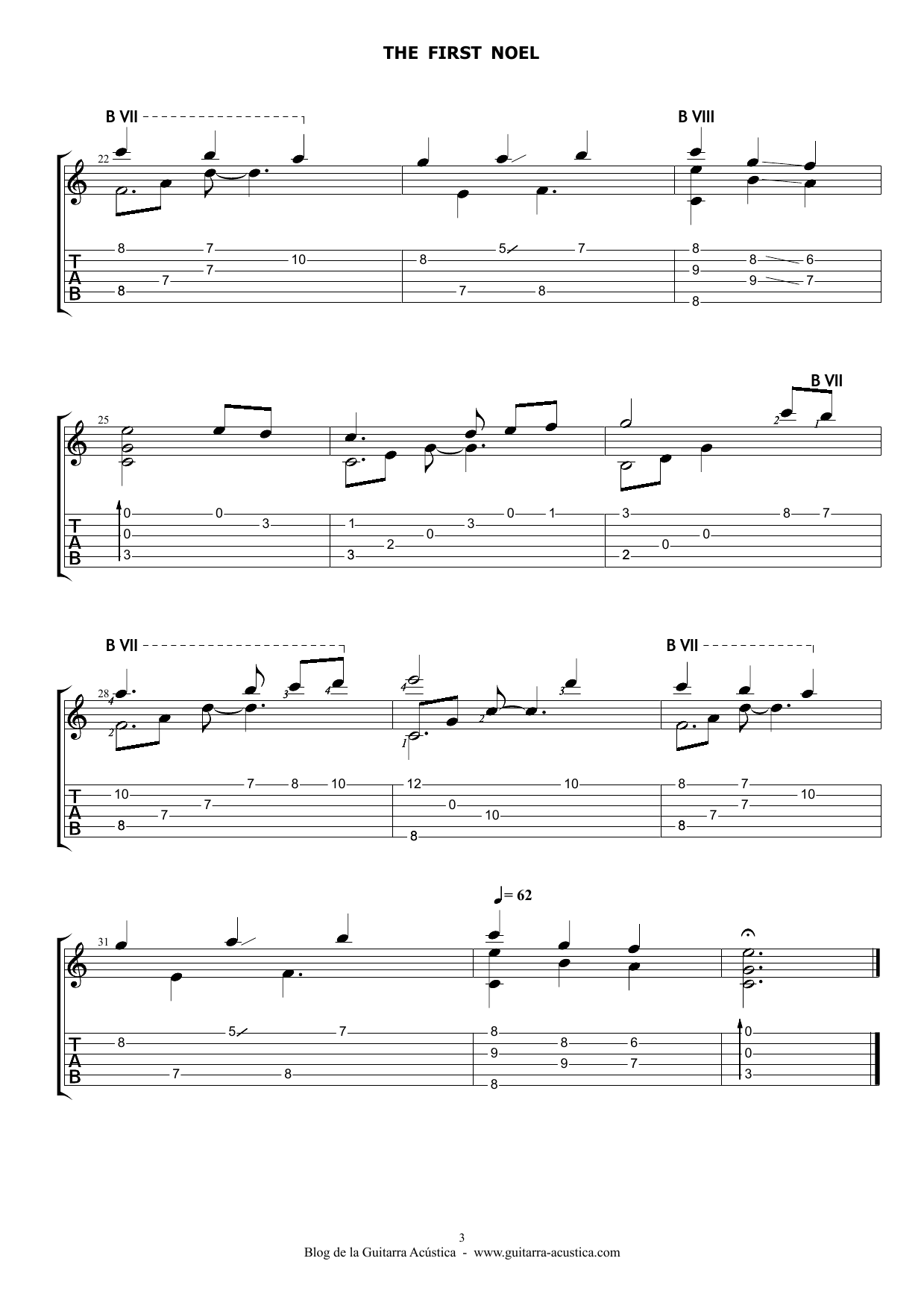 The first noel villancico partitura para guitarra el for Partituras guitarra clasica